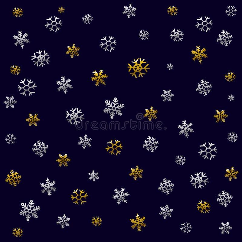 Weihnachtsmuster für Packpapier mit Weihnachtsikonen Die dünne Linie in der Gold- und Silberfarbe Benutzen Sie Papier, Gewebe, Dr stock abbildung