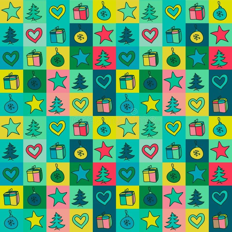 Weihnachtsmuster gefärbt mit Zeichnungsdekorationen, Geschenke, Fichte vektor abbildung