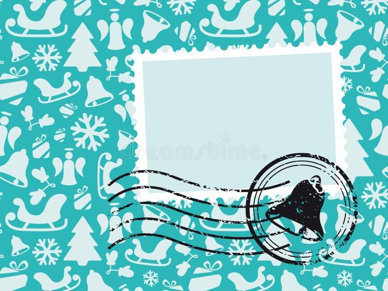 Weihnachtsmuster-Karte mit Grunge Stempel stockbild