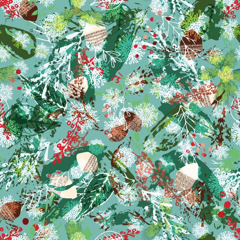 Weihnachtsmuster mit eisigen Kiefernkegeln, -Fichtenzweigen, -stechpalme und -schneeflocken Ferienzeit-Zusammenfassungsnaturentwu stock abbildung