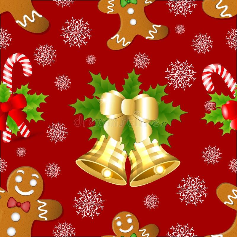 Weihnachtsmuster mit Lebkuchen, Stechpalme und goldener Glocke stock abbildung