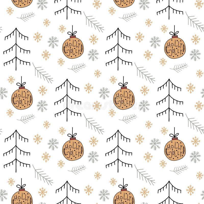 Weihnachtsmuster mit neuen Jahren spielen die Goldfarbe, die aus Weihnachtsbaum, Ball, Schneeflockenart- decoLinie Art für Plakat lizenzfreie abbildung