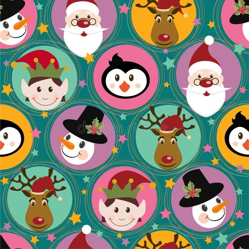 Weihnachtsmuster mit Sankt, Rotwild, Pinguin, Elf und lizenzfreie abbildung
