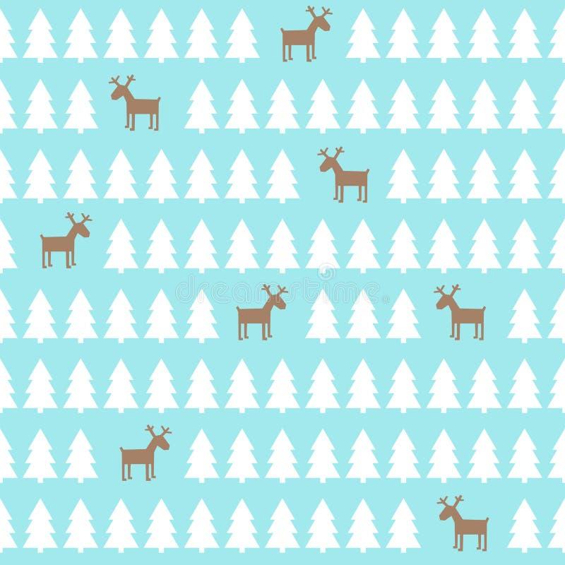 Weihnachtsmuster - Rotwild, Weihnachtsbäume Hintergrund des glücklichen neuen Jahres vektor abbildung