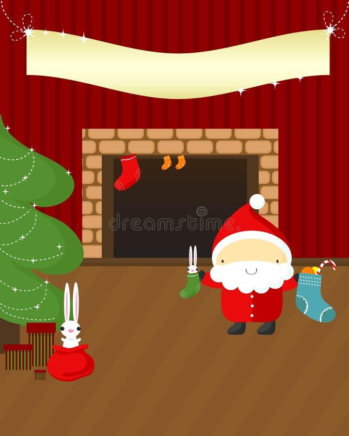 Weihnachtsnacht: Sankt und Kaninchen. stock abbildung