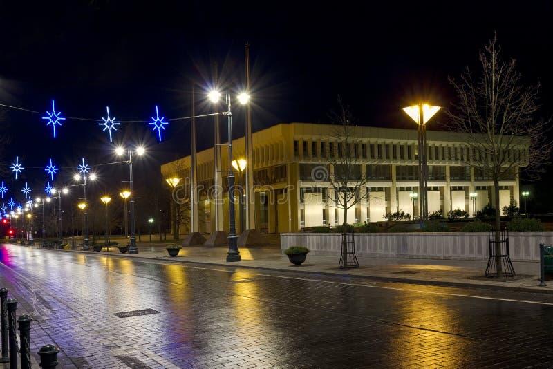 Weihnachtsnacht in Vilnius stockfotos
