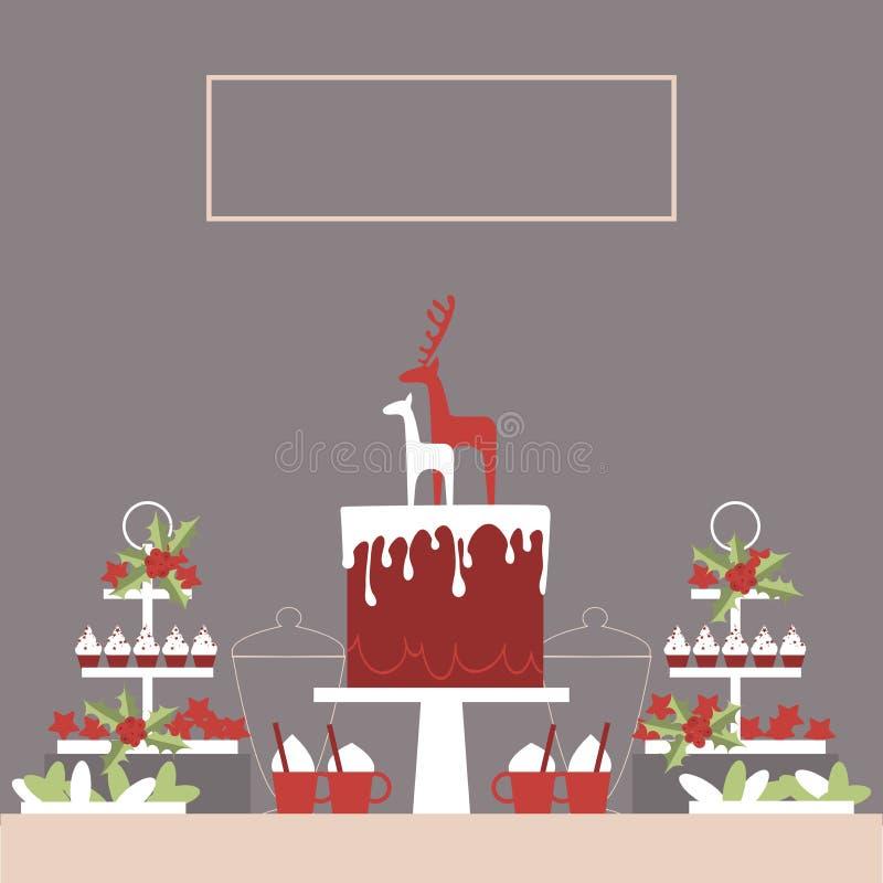 Weihnachtsnachtischtabelle mit Kuchen und kleinen Kuchen stock abbildung