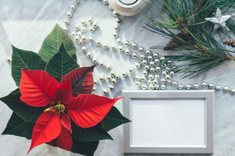 Weihnachtsnahaufnahmemodell mit Poinsettia, Kiefernkranz, Notizbuch, mit Kopienplatz lizenzfreie stockbilder