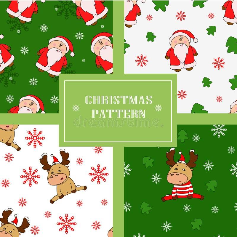Weihnachtsnahtlose Muster mit netten Rotwild und Sankt vektor abbildung