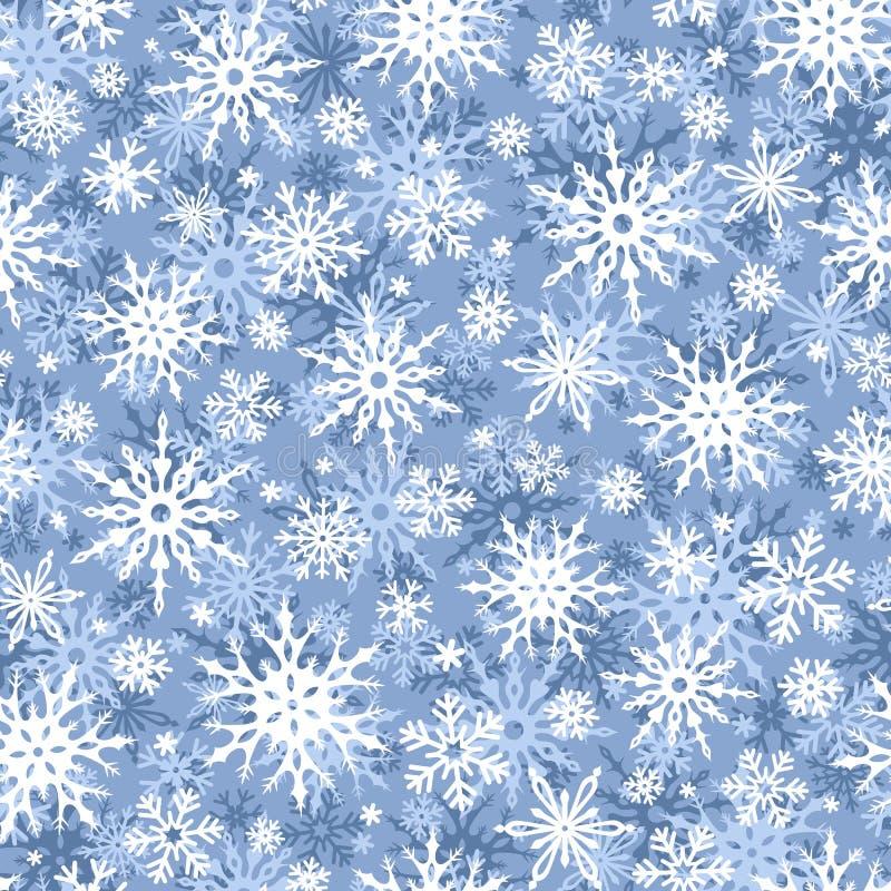 Weihnachtsnahtloser blauer und weißer Hintergrund mit Schneeflocken Auch im corel abgehobenen Betrag vektor abbildung