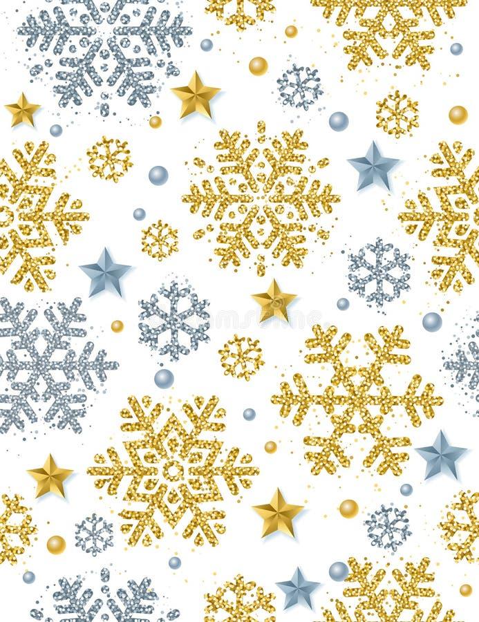 Weihnachtsnahtloser Musterhintergrund mit Gold- und Silber glitt vektor abbildung