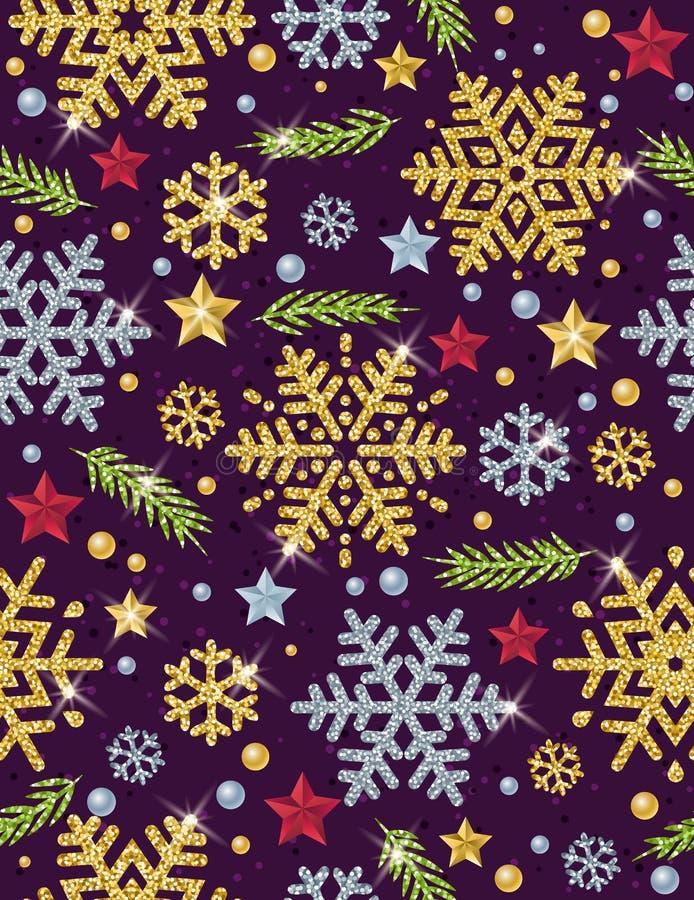 Weihnachtsnahtloser Musterhintergrund mit Gold- und Silber glitt stock abbildung