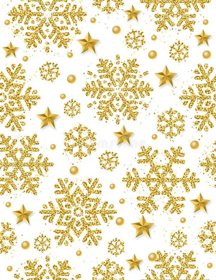 Weihnachtsnahtloser Musterhintergrund mit Goldfunkelndem snowf vektor abbildung