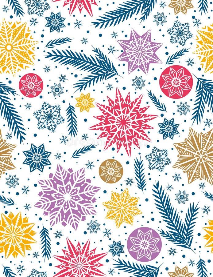 Weihnachtsnahtloser Musterhintergrund mit Schneeflocken und Sternen lizenzfreie abbildung