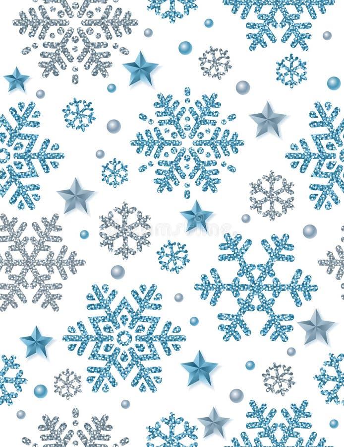 Weihnachtsnahtloser Musterhintergrund mit Silber und blauem glitt lizenzfreie abbildung