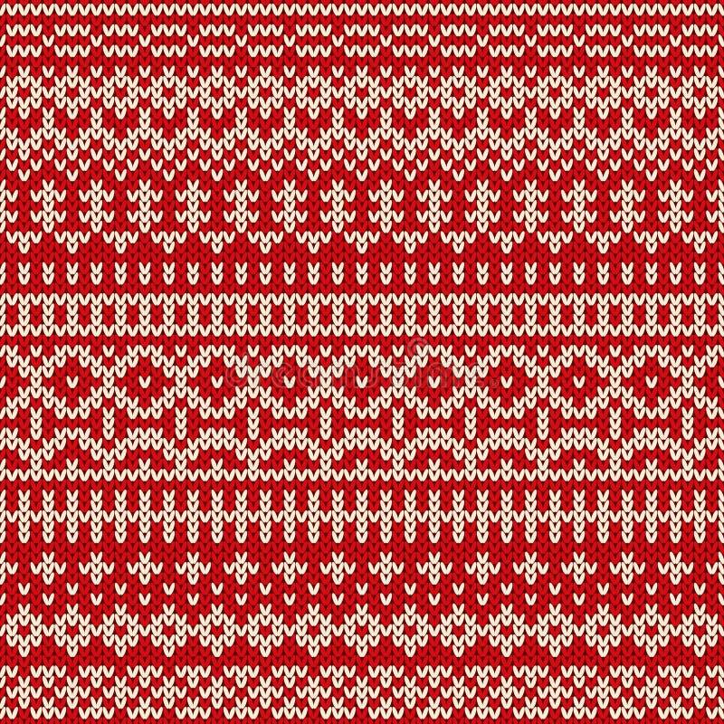 Weihnachtsnahtloses gestricktes Muster in der angemessenen Inselart lizenzfreie abbildung