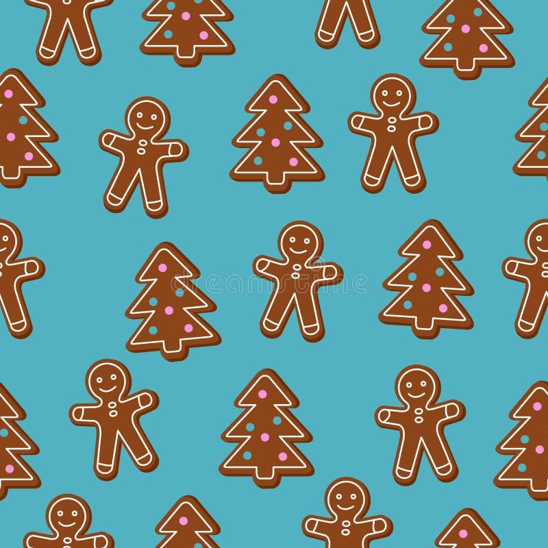 Weihnachtsnahtloses Muster Brown-Lebkuchen Mann und Weihnachtsbaumplätzchen auf blauem Hintergrund stock abbildung