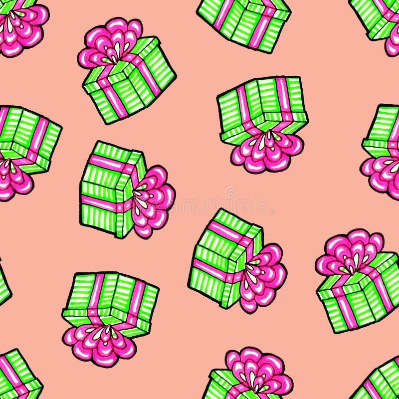 Weihnachtsnahtloses Muster eigenh?ndig gezeichnet Grünes Geschenk mit rosa Band auf einem rosa Hintergrund Gl?ckliches neues Jahr vektor abbildung