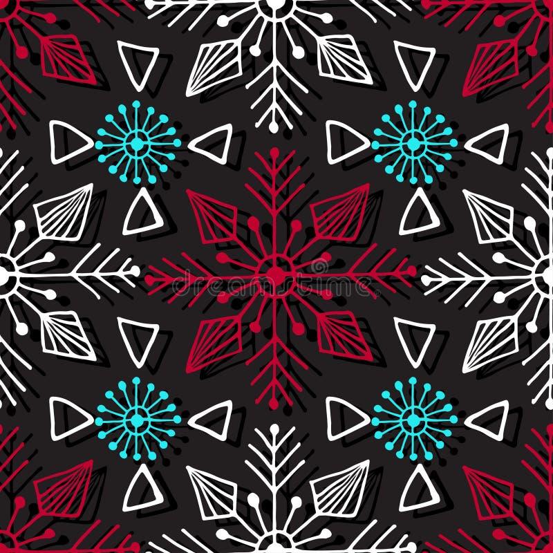 Weihnachtsnahtloses Muster Geometrische Beschaffenheit mit dekorativen Schneeflocken Abstrakter endloser Hintergrund Vektordesign lizenzfreie abbildung