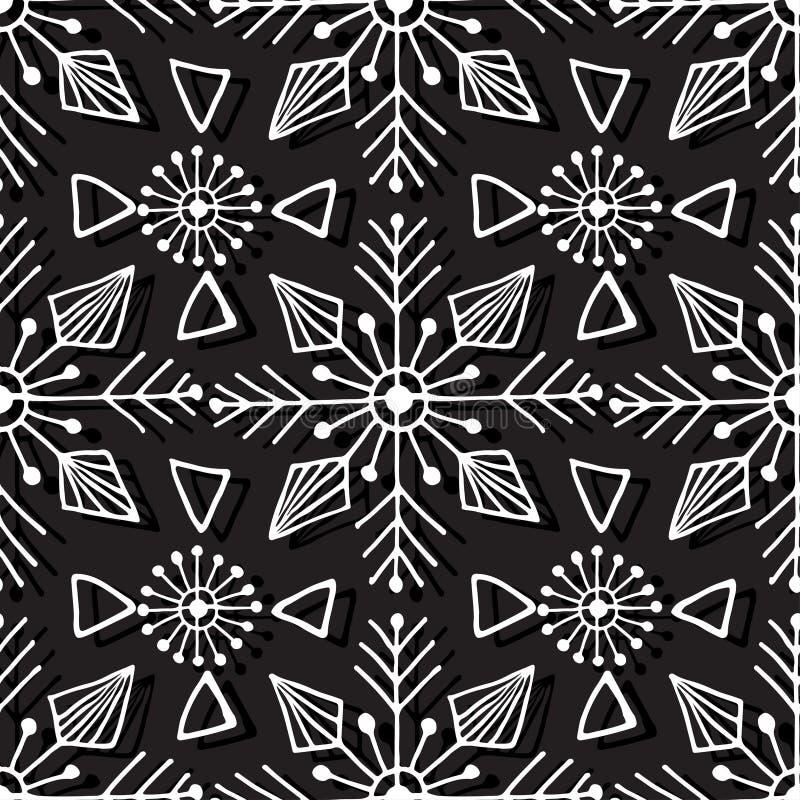 Weihnachtsnahtloses Muster Geometrische Beschaffenheit mit linearen Schneeflocken Abstrakter endloser Hintergrund Vektorhippie-De vektor abbildung