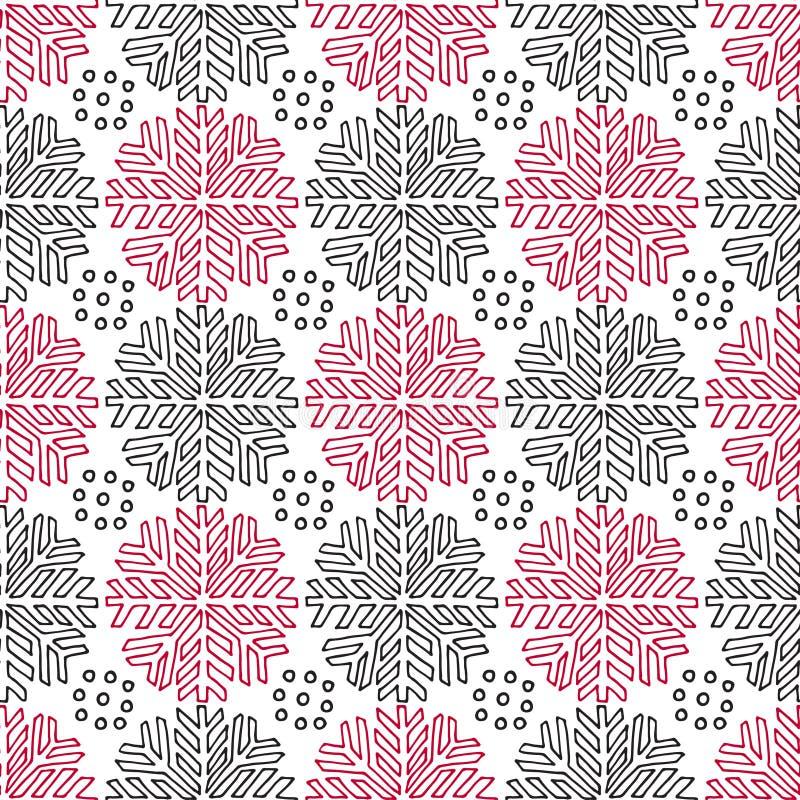Weihnachtsnahtloses Muster Geometrische Beschaffenheit mit linearer Schneeflockenverzierung Dekorativer endloser Hintergrund Vekt lizenzfreie abbildung