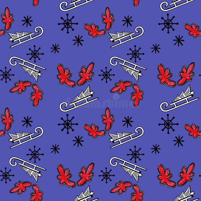 Weihnachtsnahtloses Muster mit Baum auf Schlitten, roten Hörnern und Schneeflocken auf blauem Hintergrund lizenzfreie abbildung
