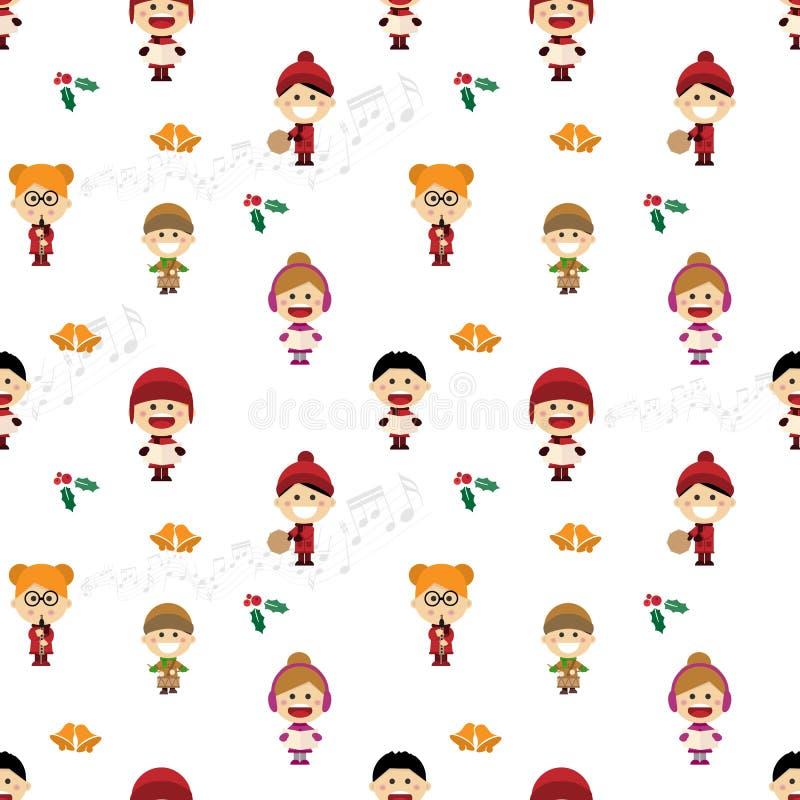 Weihnachtsnahtloses Muster mit den Kindern, die Liede singen lizenzfreie abbildung