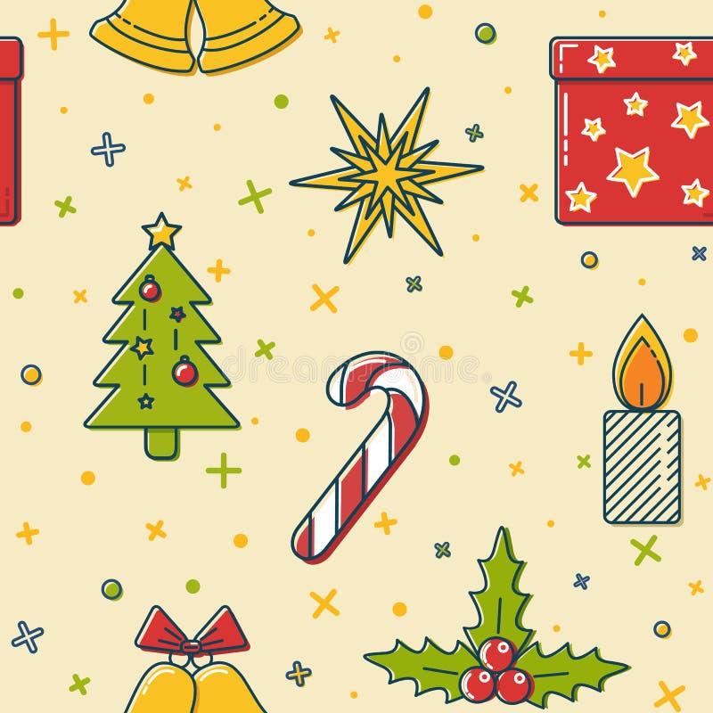 Weihnachtsnahtloses Muster mit Feiertagssymbolen vektor abbildung