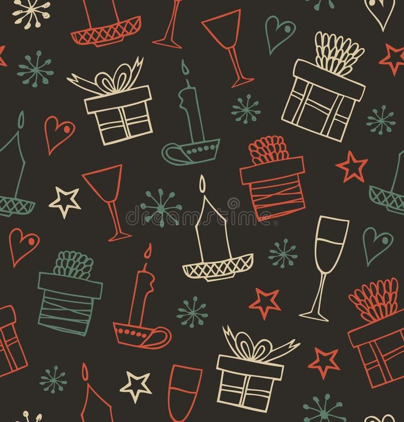 Weihnachtsnahtloses Muster mit Geschenken, Kerzen, Becher Endloser aufwändiger Hintergrund mit Kästen Geschenken Hand gezeichnete lizenzfreie abbildung