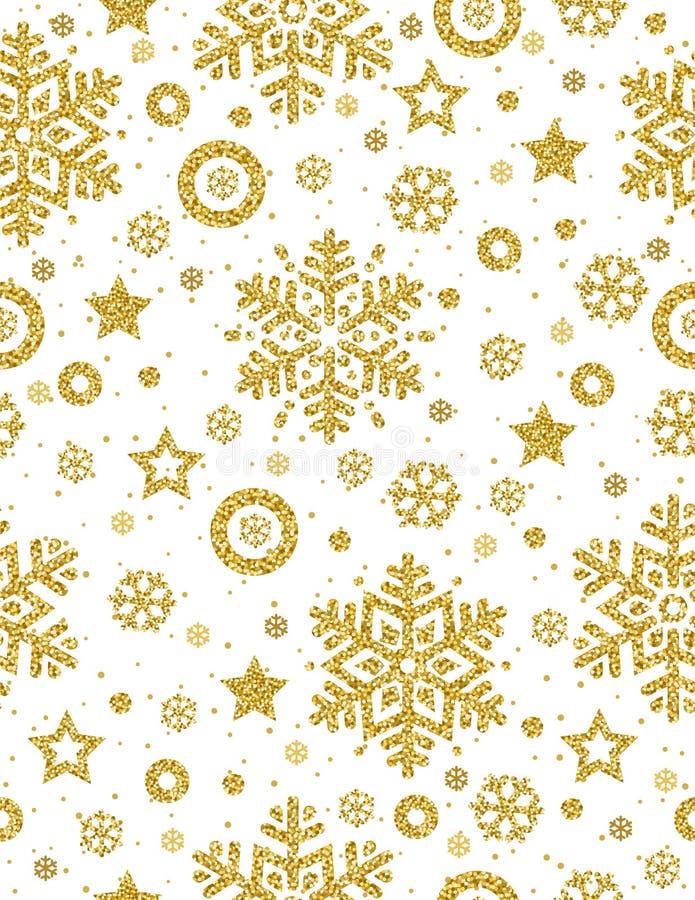 Weihnachtsnahtloses Muster mit goldenen funkelnden Schneeflocken und vektor abbildung