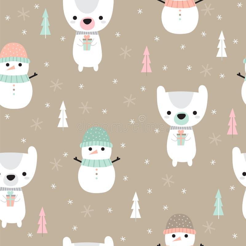 Weihnachtsnahtloses Muster mit Karikaturbären und -Schneemann Weihnachts- und des neuen Jahresdesign Feiertagshintergrund für Bab stock abbildung
