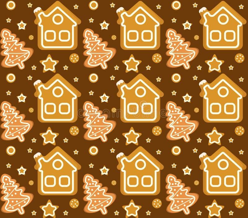 Weihnachtsnahtloses Muster mit Lebkuchenhaus und -plätzchen Endlose Beschaffenheit der Plätzchen Winterurlaube, Tapete lizenzfreie abbildung