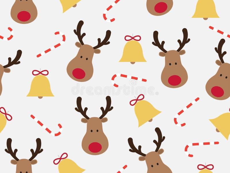 Weihnachtsnahtloses Muster mit Renkarikatur und -glocke stock abbildung