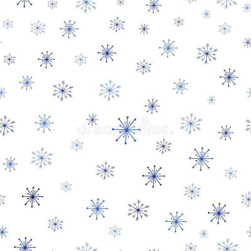 Weihnachtsnahtloses Muster mit Schneeflocken auf weißem Hintergrund Vektor-nahtloser Winter-Muster-Hintergrund vektor abbildung