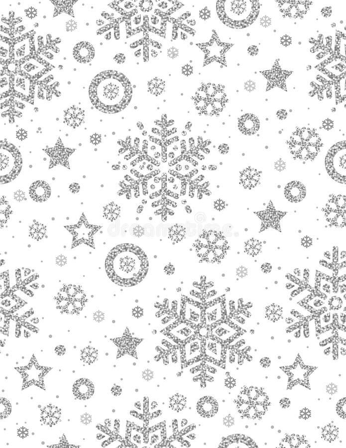 Weihnachtsnahtloses Muster mit silbernen funkelnden Schneeflocken und vektor abbildung