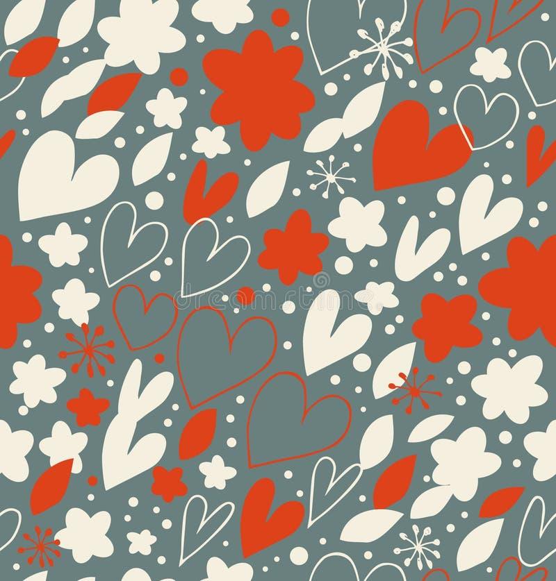 Weihnachtsnahtloses Muster mit vielen netten Details Hand gezeichneter Gekritzelhintergrund mit Herzen und Blumen Aufwändige Dama vektor abbildung