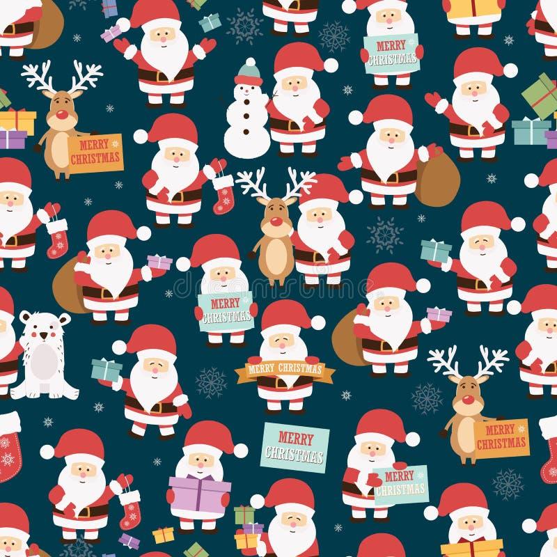 Weihnachtsnahtloses Muster mit Weihnachtsmann, Ren, Bären und Geschenken vektor abbildung