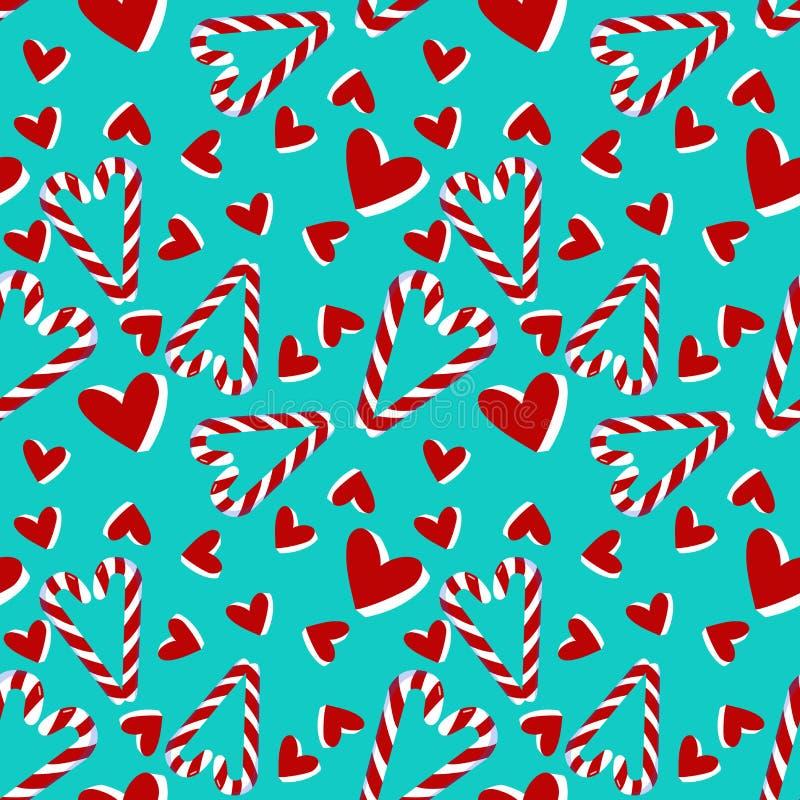 Weihnachtsnahtloses Muster mit Zuckerstange und Herzen stock abbildung
