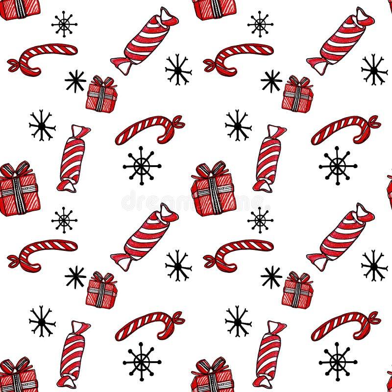 Weihnachtsnahtloses Muster mit Zuckerstangen, Geschenk und Schneeflocken auf weißem Hintergrund vektor abbildung