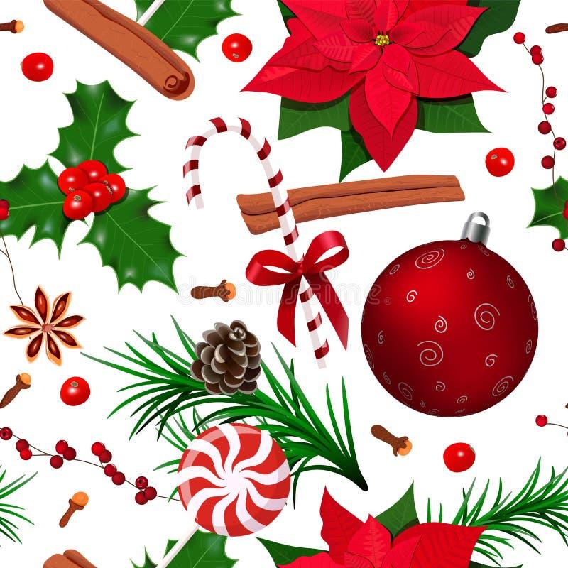 Weihnachtsnahtloses Muster Stechpalme, Poinsettia, Kegel, Sternanis, Zimt, Zuckerstange, Nelken, Tannenzweige, Weihnachtsball, stock abbildung
