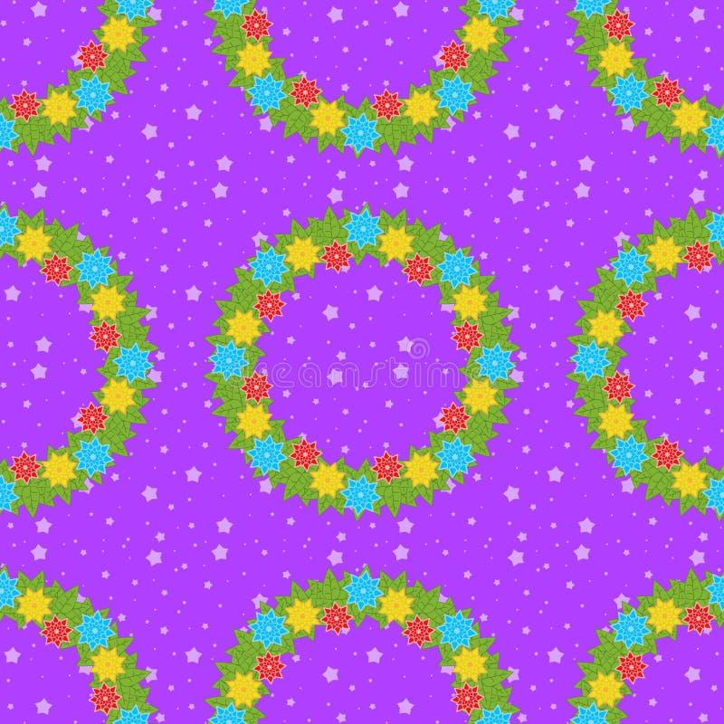 Weihnachtsnahtloses Muster von Kränzen auf einem purpurroten Hintergrund mit Sternen vektor abbildung