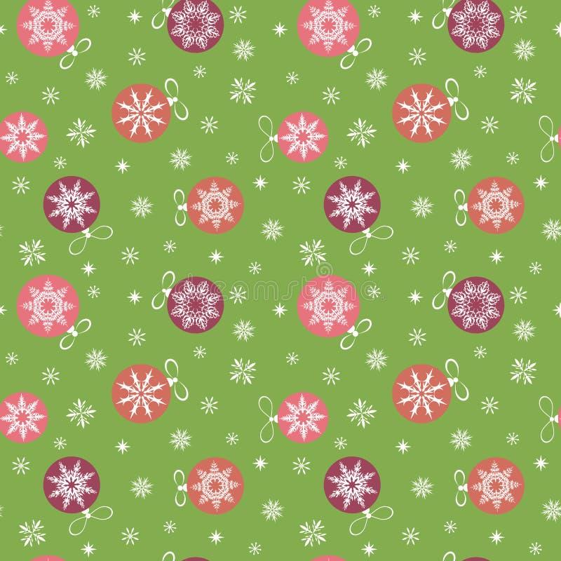 Weihnachtsnahtloses Muster Weihnachtsbälle und -schneeflocken auf einem grünen Hintergrund vektor abbildung