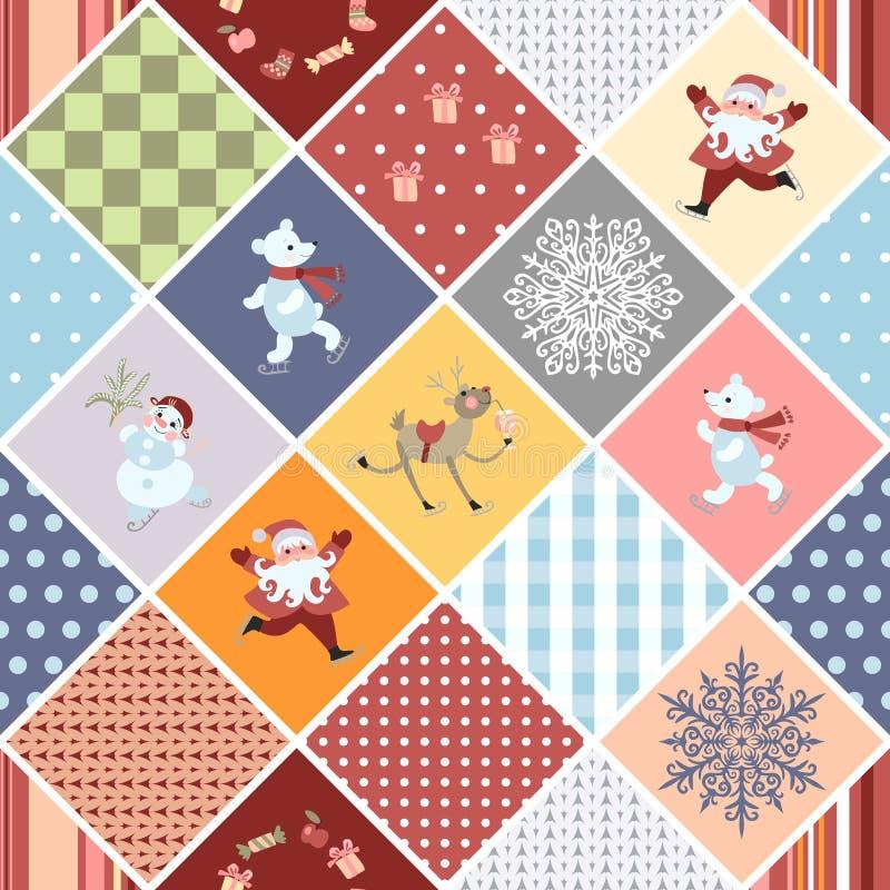 Weihnachtsnahtloses Patchworkmuster mit Santa Claus, lustigen Rotwild, Eisbären, Schneemann, Schneeflocke, Geschenken und geometr lizenzfreie abbildung