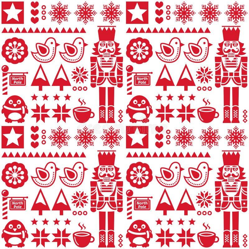 Weihnachtsnahtloses rotes Muster mit Nussknacker - Volkskunstart vektor abbildung