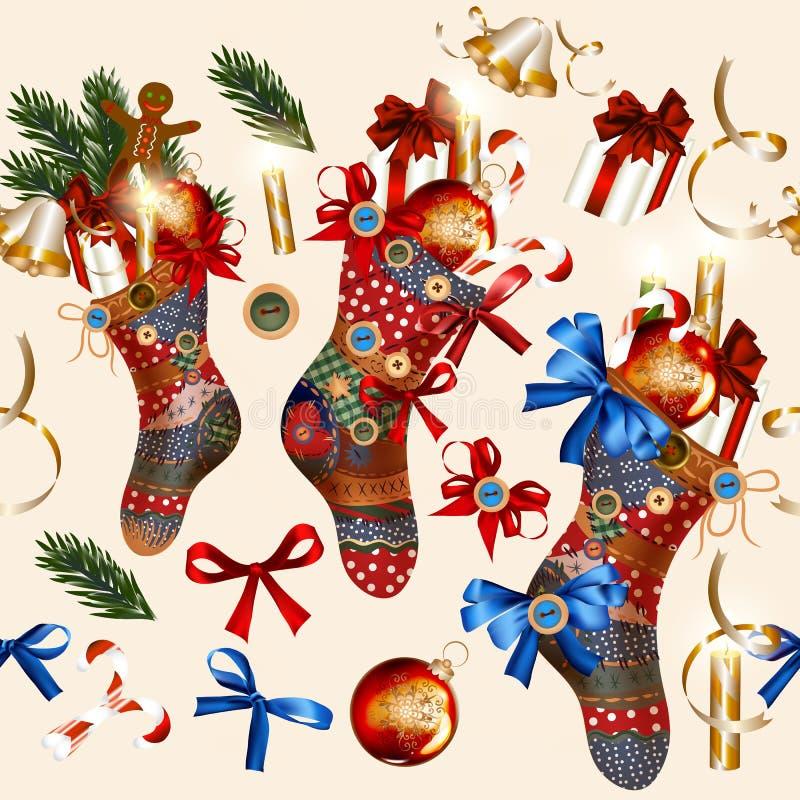 Weihnachtsnahtloses Tapetenmuster mit Socken, Flitter, Glocken lizenzfreie abbildung