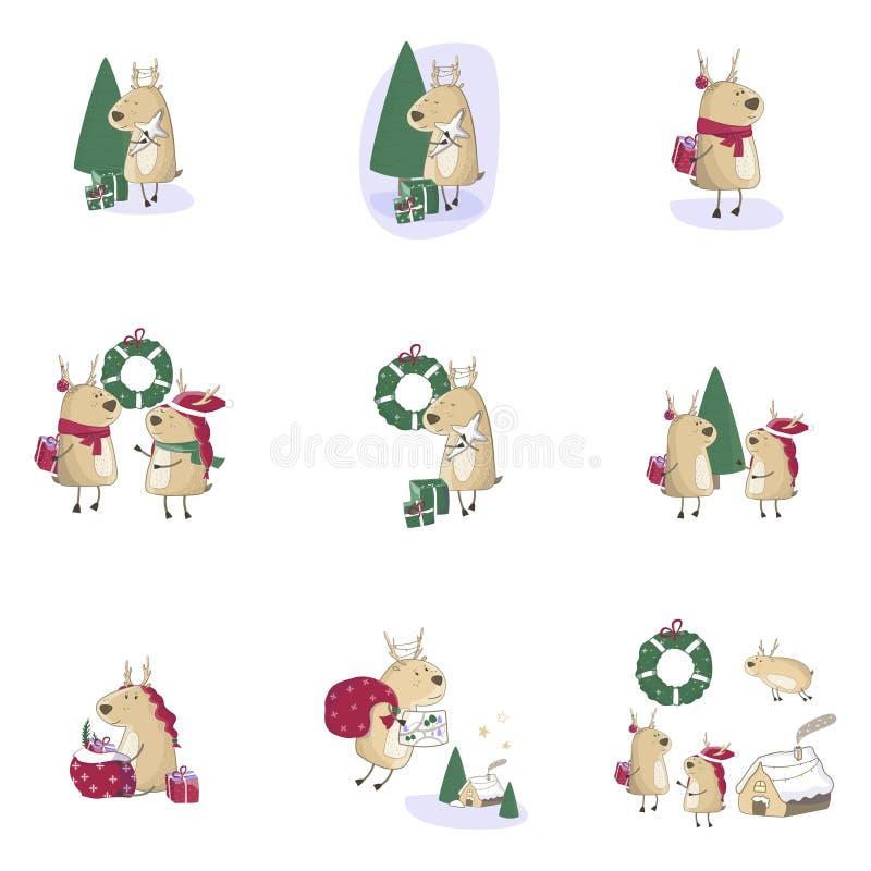 Weihnachtsnette Rotwild mit Geschenk Lokalisiert auf blauem gradieny Hintergrund Fest von Weihnachten Grußkartentier vektor abbildung