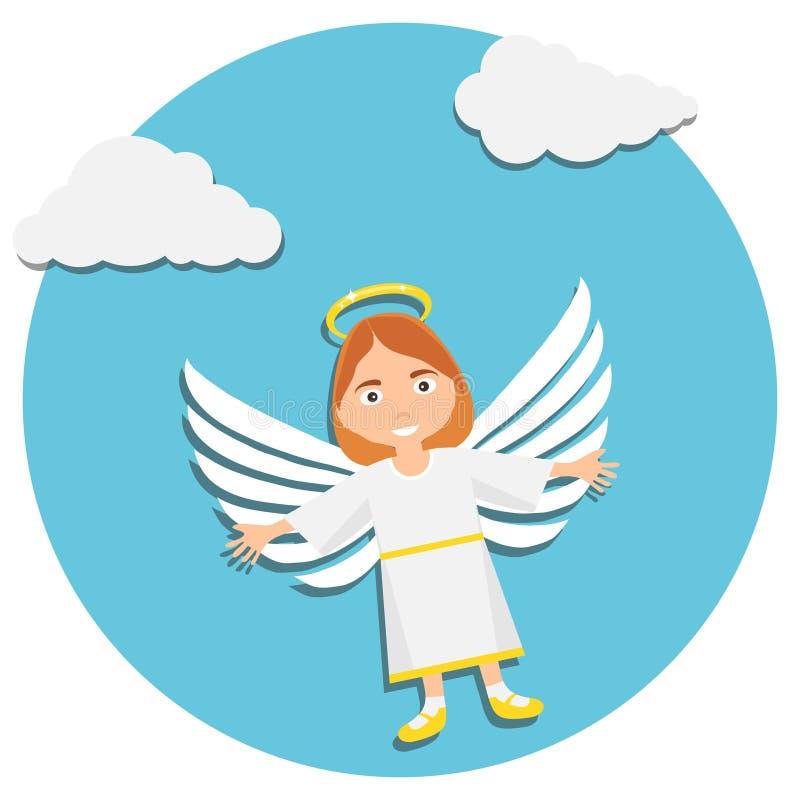 Weihnachtsnetter Engel Betender Schätzchen-Engel Illustration von jungem Angel In White Praying stock abbildung