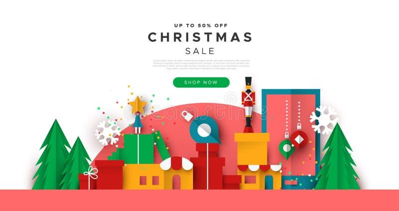 Weihnachtsnetz-Verkaufsschablone der papercut Spielzeugstadt lizenzfreie abbildung
