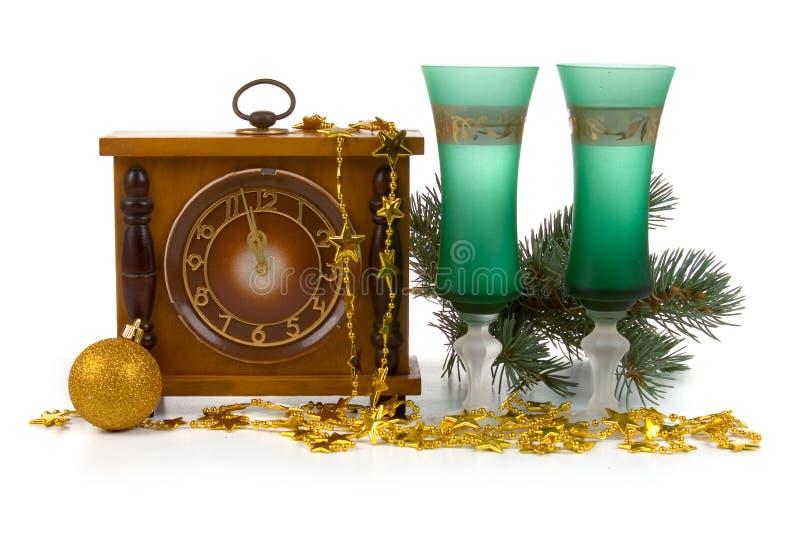 Weihnachtsnoch Leben mit einer Borduhr stockfotografie