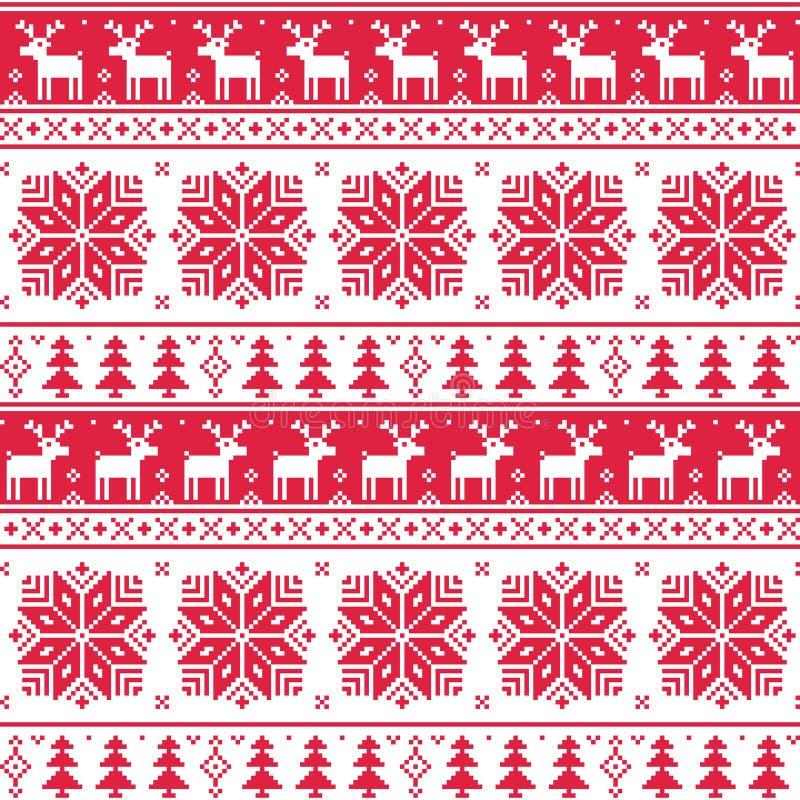 Weihnachtsnordisches nahtloses rotes Muster mit Rotwild stock abbildung